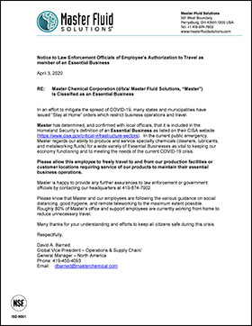 Notice to Law Enforcement Officials of Employee's Authorization to Travel as member of an Essential Business 