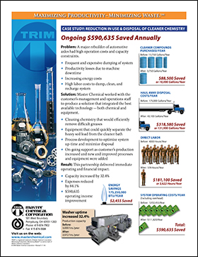 Reduction in Use & Disposal of Cleaner Chemistry: $590.635 Saved Annually Reduction in Use & Disposal of Cleaner Chemistry